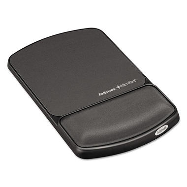 Fellowes Gel Wrist Support & Mouse Pad with Antimicrobial Protection - Graphite