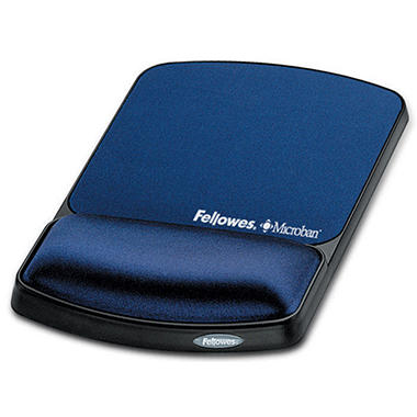 Fellowes Gel Wrist Support & Mouse Pad with Antimicrobial Protection - Sapphire