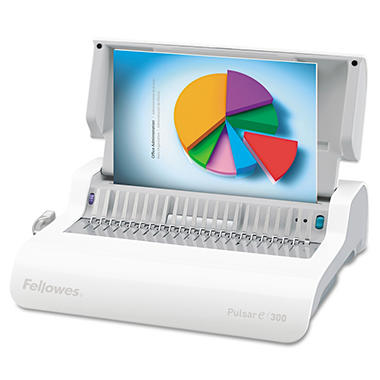 Fellowes Pulsar Comb Binding System, 300 Sheets, 17w x 15-3/8d x 5-1/8h - White