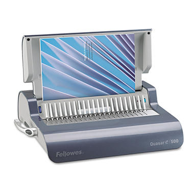 Fellowes Quasar Comb Binding System, 500 Sheets, 18-1/8w x 15-3/8d x 5-1/8h - Gray