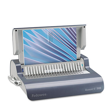 Fellowes Quasar Comb Binding System, 500 Sheets, 16-7/8w x 15-3/8d x 5-1/8h - Gray