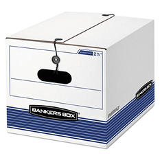 Bankers Box - STOR/FILE Storage Box, Legal/Letter, Tie Closure, White/Blue -  4/Carton