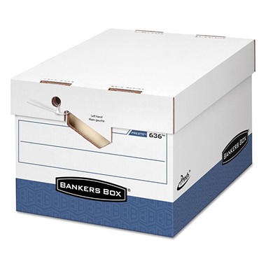 Bankers Box - PRESTO Maximum Strength Storage Box, Ltr/Lgl, 12 x 15 x 10, White -  12/Carton