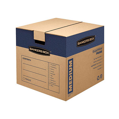 Bankers Box SmoothMove Prime Medium Moving/Storage Boxes, 18 3/4 x 18 1/8 x 16 5/8, Kraft, 8ct.