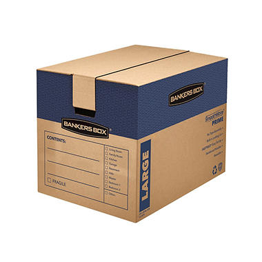 Bankers Box SmoothMove Fast Assembly Tape-Free Moving and Storage Boxes, Large, 6 Pack