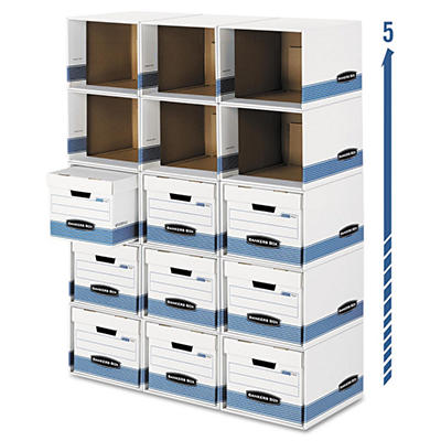Bankers Box - File/Cube Box Shell - Legal/Letter - White/Blue