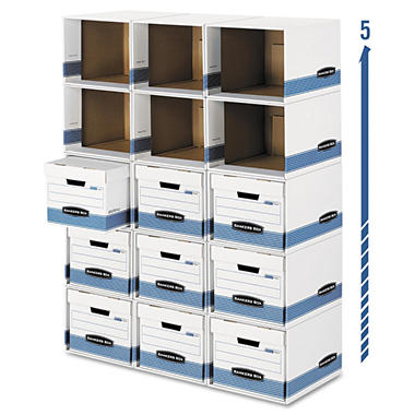 Bankers Box - Bankers Box File/Cube Box Shell, Legal/Letter -  White/Blue