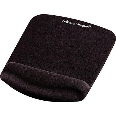 "Fellowes PlushTouch Mouse Pad with Wrist Rest, Foam, Black - 9-1/3"" x 7-1/4"""