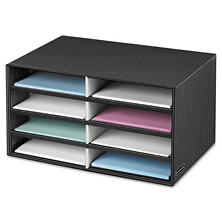 Bankers Box - Decorative Eight Compartment Literature Sorter, Letter -  Black/Gray Pinstripe