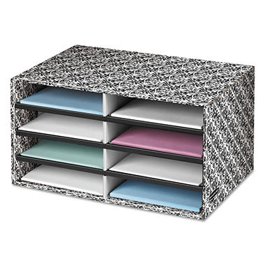 Bankers Box - Decorative Eight Compartment Literature Sorter, Letter Size -  White/Black Brocade