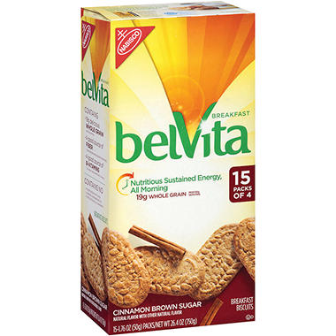belVita Cinnamon Brown Sugar Breakfast Biscuits (15 pk. 4 ct.)