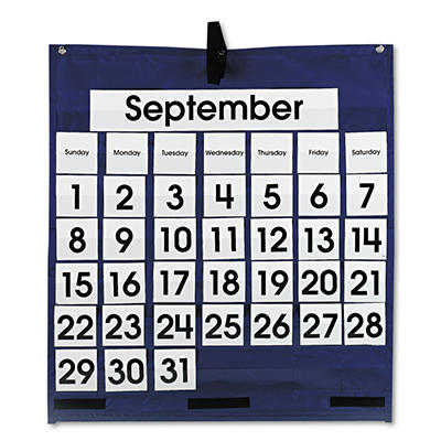 Monthly calendar pocket chart w/grommets,25x28-1/2