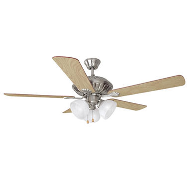 "Design House 3-Light 52"" Ceiling Fan Trevie Collection Satin Nickel"