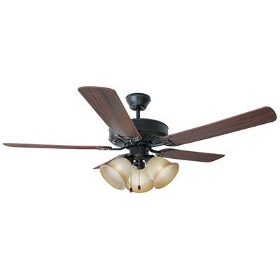 "Cameron by Design House 52"" Oil Rubbed Bronze 5 Blade Ceiling Fan with Light Kit"