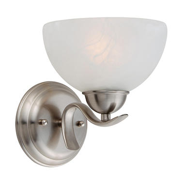 Design House 1-Light Wall Mount Trevie Collection Satin Nickel