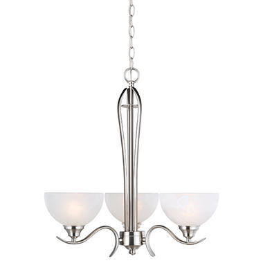 Design House 3-Light Chandelier Trevie Collection Satin Nickel