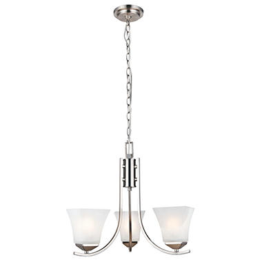 Design House 3-Light Chandelier Torino Collection Satin Nickel