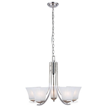 Design House 5-Light Chandelier Torino Collection Satin Nickel
