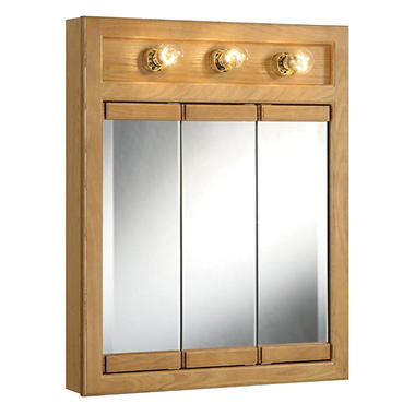design house richland nutmeg oak lighted tri view wall cabinet mirror sam 39 s club. Black Bedroom Furniture Sets. Home Design Ideas