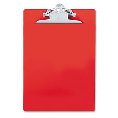 "Saunders - Plastic Antimicrobial Clipboard, 1"" Capacity, Holds 8 1/2""W x 12""H - Red"
