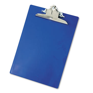 "Saunders - Plastic Antimicrobial Clipboard, 1"" Capacity, Holds 8 1/2""W x 12""H - Blue"