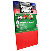 Clipboard Recyled Plastic, Assorted Colors - 3 Pack