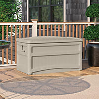 Suncast 73 Gallon Deck Box w/Seat and Wheels