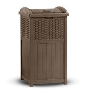 Suncast Wicker 30 Gallon Trash Hideaway