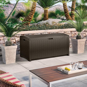 Suncast Wicker 99 Gallon Deck Box