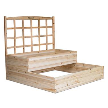 Suncast Cedar Tiered Bed with Trellis