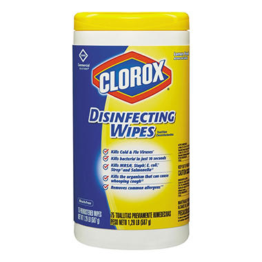 Clorox - Disinfecting Wipes, 7 x 8, Lemon Fresh, 75/Canister -  6/Carton