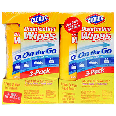 Clorox On-the-Go Disinfecting Wipes (34 Wipes, 6 pk.)