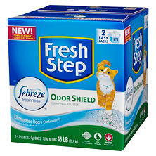 Fresh Step Odor Shield with Febreze, Scented Scoopable Cat Litter (22.5 lb., 2 pk.)