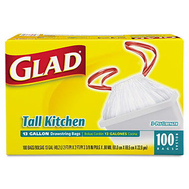Glad Drawstring Tall Kitchen Bags - 13 gal - 100 ct.