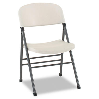 Bridgeport - Endura Resin Molded Folding Chair, Pewter Frame/White Speckle - 4Pack