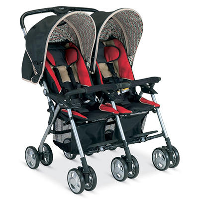 Combi Twin Savvy E Stroller, Red Chevron