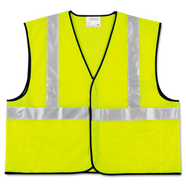 MCR Safety Polyester Safety Vest - Fluorescent Lime with Silver Stripe (2X)