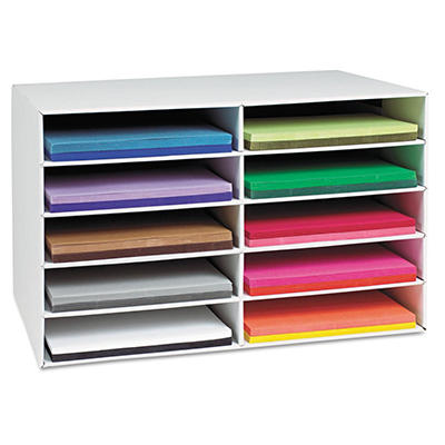 Pacon - Classroom Construction Paper Storage, 10 Slots -  26 7/8 x 16 7/8 x 18 1/2