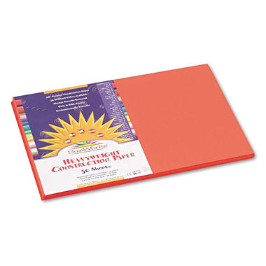Pacon - Construction Paper, 58 lbs., 12 x 18 -  Orange, 50 Sheets per Pack