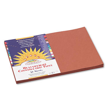 Pacon - Construction Paper, 58 lbs., 12 x 18, Brown, 50 Sheets/Pack