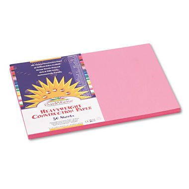 Pacon - Construction Paper, 58 lbs., 12 x 18 -  Pink, 50 Sheets per Pack