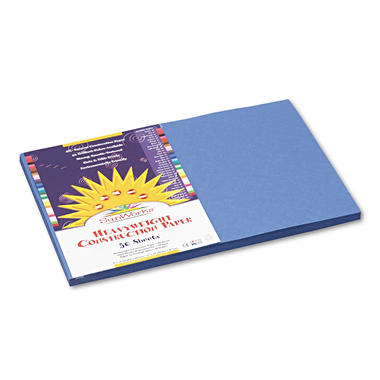 Pacon - Construction Paper, 58 lbs., 12 x 18 - Blue, 50 Sheets per Pack