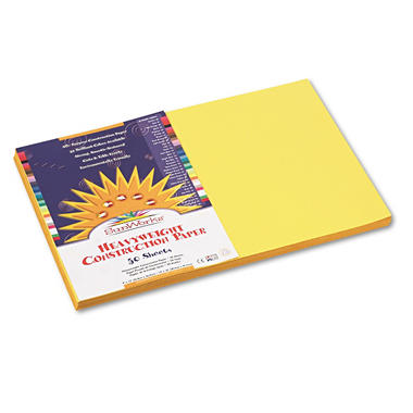 Pacon - Construction Paper, 58 lbs., 12 x 18 - Yellow, 50 Sheets per Pack