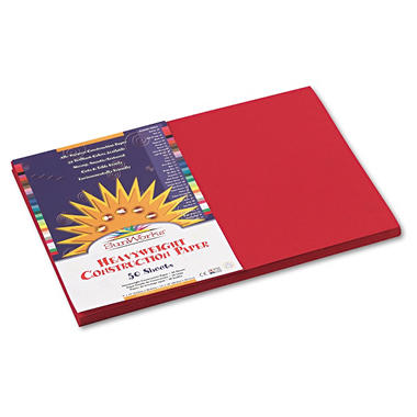 Pacon - Construction Paper, 58 lbs., 12 x 18 - Holiday Red, 50 Sheets per Pack