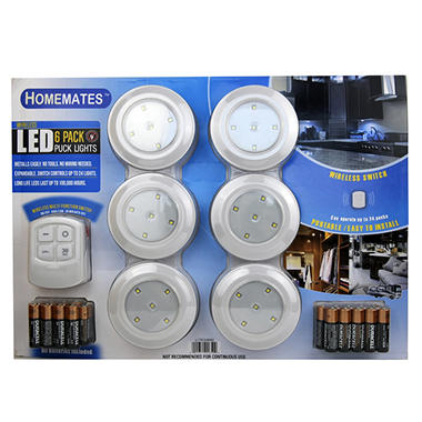 LED Wireless Puck Lights with Remote - 6 pk.