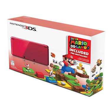 3DS Flame Red Handheld with Super Mario 3D Land