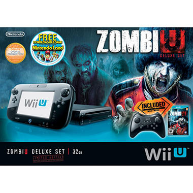 Black Wii U 32GB Deluxe Console with Por Controller, ZombiU and NintendoLand  (Download)