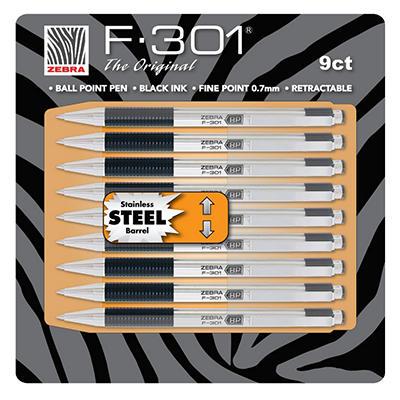 Zebra - F-301 Ballpoint Retractable Pen, Black Ink, Fine - 9 Pens