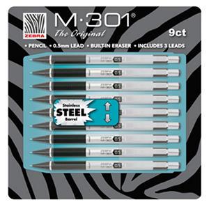Zebra - M-301 Mechanical Pencil, 0.5 mm, Stainless Steel - 9 Pencils