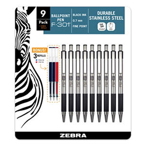 Zebra - F-301 Ballpoint Retractable Pen, Black Ink, Fine - 9 Pens